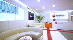 Stock Video Footage of Reception area at Moscow Exchange. It conducts trade stocks, bonds