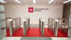 Entry gates to reception hall at Moscow Stock Exchange. Stock Footage