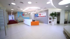 Moving across reception hall at Moscow Stock Exchange. Stock Footage