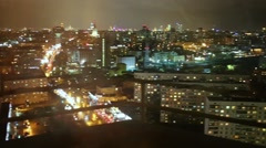 Panorama of Moscow through the window glass with reflections. Stock Footage