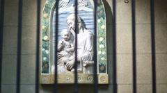 Sculpture Madonna Bertello by Andrea della Robbia Stock Footage