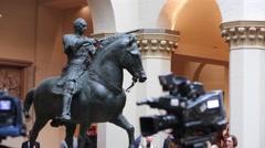 Condottiere Gattamelata by Donatello in Pushkin State Museum Stock Footage