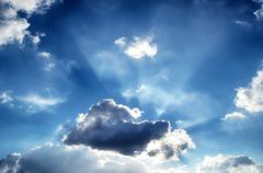 Blue sky with white cloud - stock photo