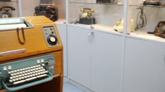 Many exhibits in Museum of phone in Preobrazhenskoe district Stock Footage