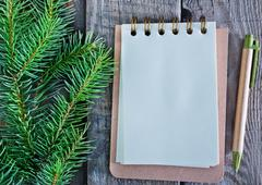 Notebook for note and fir brunch on a table Stock Photos