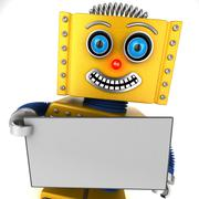 Happy robot holding a blank sign Stock Photos