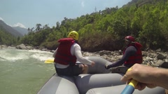 Rafting on the Bhote-Koshi river. Nepal Stock Footage