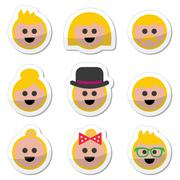 People with blond hair vector icons set Stock Illustration