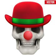 Vector Human skull clown. Front view - stock illustration