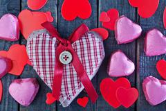 Chocolate candy on the wooden table, chocolate hearts Stock Photos