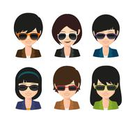 Female asian avatar wearing sunglasses Stock Illustration