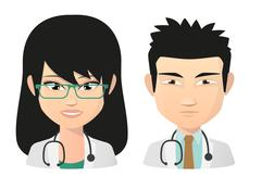 Stock Illustration of Female and male doctor asian avatar set