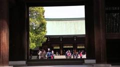 Meijijingu Shrine courtyard entrance Stock Footage