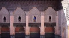 Handheld shot at The Ben Youssef Madrasa in Marrakesh Stock Footage