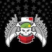 Skull in beret with the Eagle. war emblem. - stock illustration