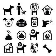 Dog, pet icons set - vet, dog's food, dog hotel Stock Illustration