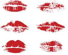 Vector inprint of lips Stock Illustration