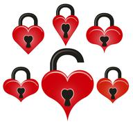 Lock and unlock red hearts Piirros