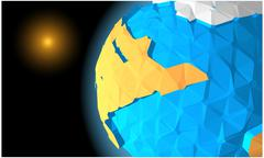 A planet similar to Earth in low-polygonal style - stock illustration