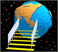 A planet similar to Earth in low-polygonal style Stock Illustration