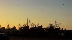Handheld shot of silhouetted fishing boats at the port in Essaouira, Morocco Stock Footage