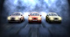 Three cars on the speed in night - stock photo
