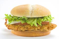 crisp chicken burger with tomato onion cheese lettuce - stock photo