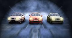 Stock Photo of Three cars on the speed in night