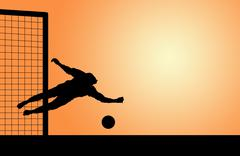 silhouettes of footballers on sunset - stock photo