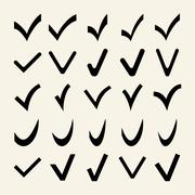 Set of 25 Different Vector Check Marks Stock Illustration