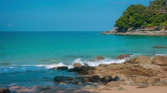 Shaded, Tropical Beach in Kamala, Thailand Stock Footage