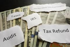 IRS tax notes - stock photo