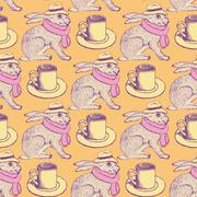 Sketch hare and cup in vintage style - stock illustration