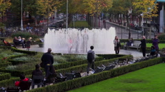 Handheld shot of the Hide and Seek Fountain outside the Rijksmuseum Stock Footage