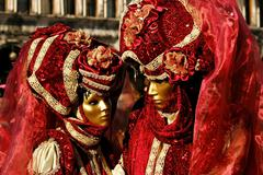 Stock Photo of Portrait of two Beautiful masks in Venice, Italy