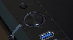 4k Computer button being pressed and glowing blue Stock Footage