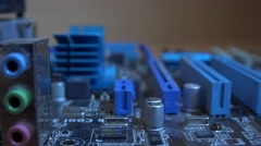 4k computer motherboard pull/rack focus component close up circuit board Stock Footage