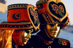 Stock Photo of Portrait of two Beautiful karnavale masks in Venice, Italy