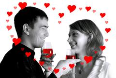 Two happiness young peole in valentines day of love - stock photo