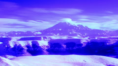 InfraRed landscape: Movement of the clouds on the mountains Elbrus Stock Footage