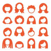 Woman hair styles, wigs icons - ginger - stock illustration