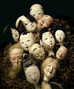 Antique Japanese doll heads - stock photo