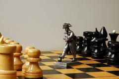 chess and napoleon             - stock photo