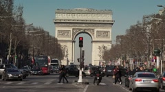 Champs Elysee zoom to Arc de Triomphe monument - 1080p Stock Footage