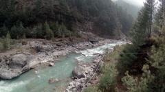 2.7K. Mountain river. Melting glacier Ngozumpa, Himalayas, Nepal. Full HD. Stock Footage