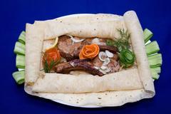 Shish kebab from the chiken - stock photo