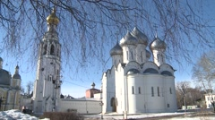 Vologda Kremlin and the Temple of Sofia Stock Footage