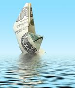 Money ship in water Stock Photos