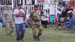 Remembering the dead military veterans at a pow wow Stock Footage