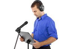 Male Voice Over Artist or Singer Stock Photos